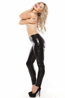 Black Wet Look Criss Cross Leggings