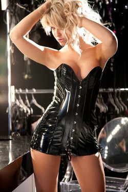 Black Vinyl Busk Front Boned Corset Back Mini Dress - S,M,L,XL