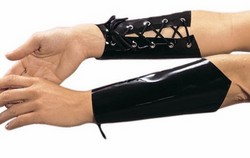 Black Vinyl PVC Lace Up Gauntlets - One Size, Diva Size