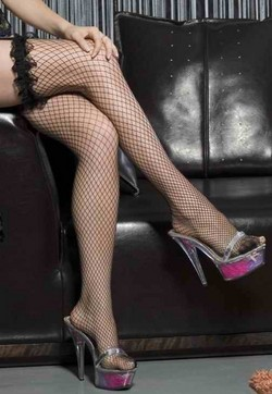 Fishnet Thigh High Panty Hose W/ Ruffled Top - Black - One Size
