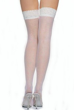Lace Top Sheer Thigh High Panty Hose - White, O/S