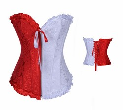 Red and White Jacquard Zippered Front Strapless Boned Corset & Thong Panty Set - S~XXL
