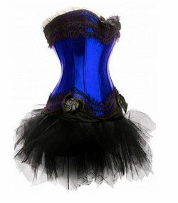 Blue Black Corset Tutu Skirt Set