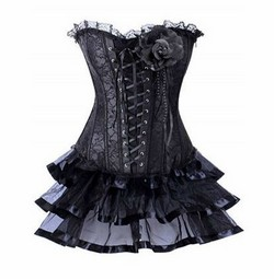 Black Lace Ruffled Corset Skirt