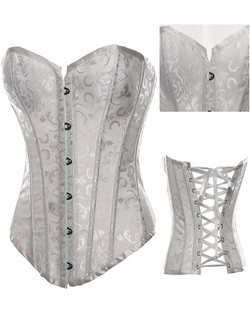 White Brocade Jacquard & Satin Strapless Boned Corset & Thong Panty Set - S,M,L,XL,XXL