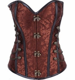 Brown Jacquard Faux Leather Clasp Front Steampunk Corset