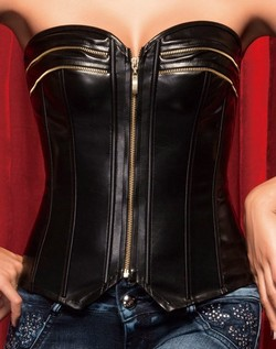 Black Pleather Decorative Zipper Front Corset & Thong Set - S,M,L,XL,XXL
