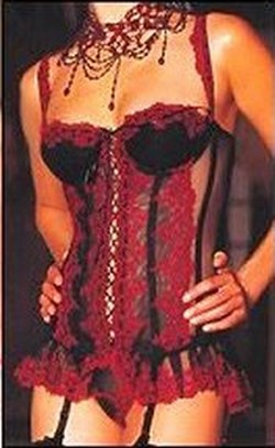 Black & Red Lace Sheer Mesh Long Bustier