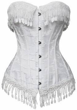 White Lace Beaded Victorian Corset ~ S - XXL