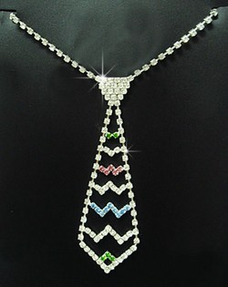 Rhinestone Colorful Tie Shaped Necklace