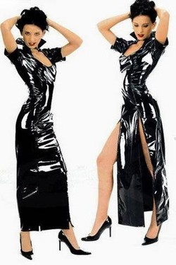 Black PVC Vinyl Long Double Zipper Dress - S/M